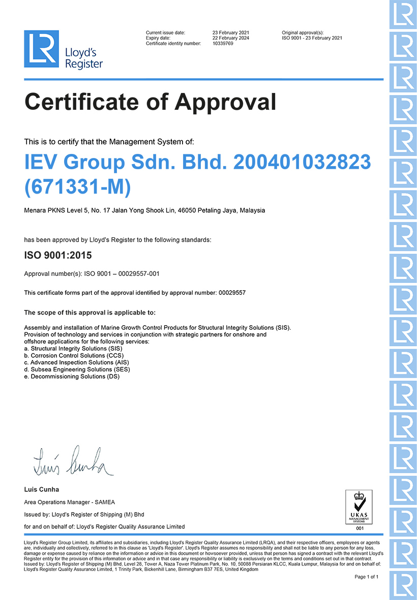 QMS Certificate IEV Group Sdn Bhd
