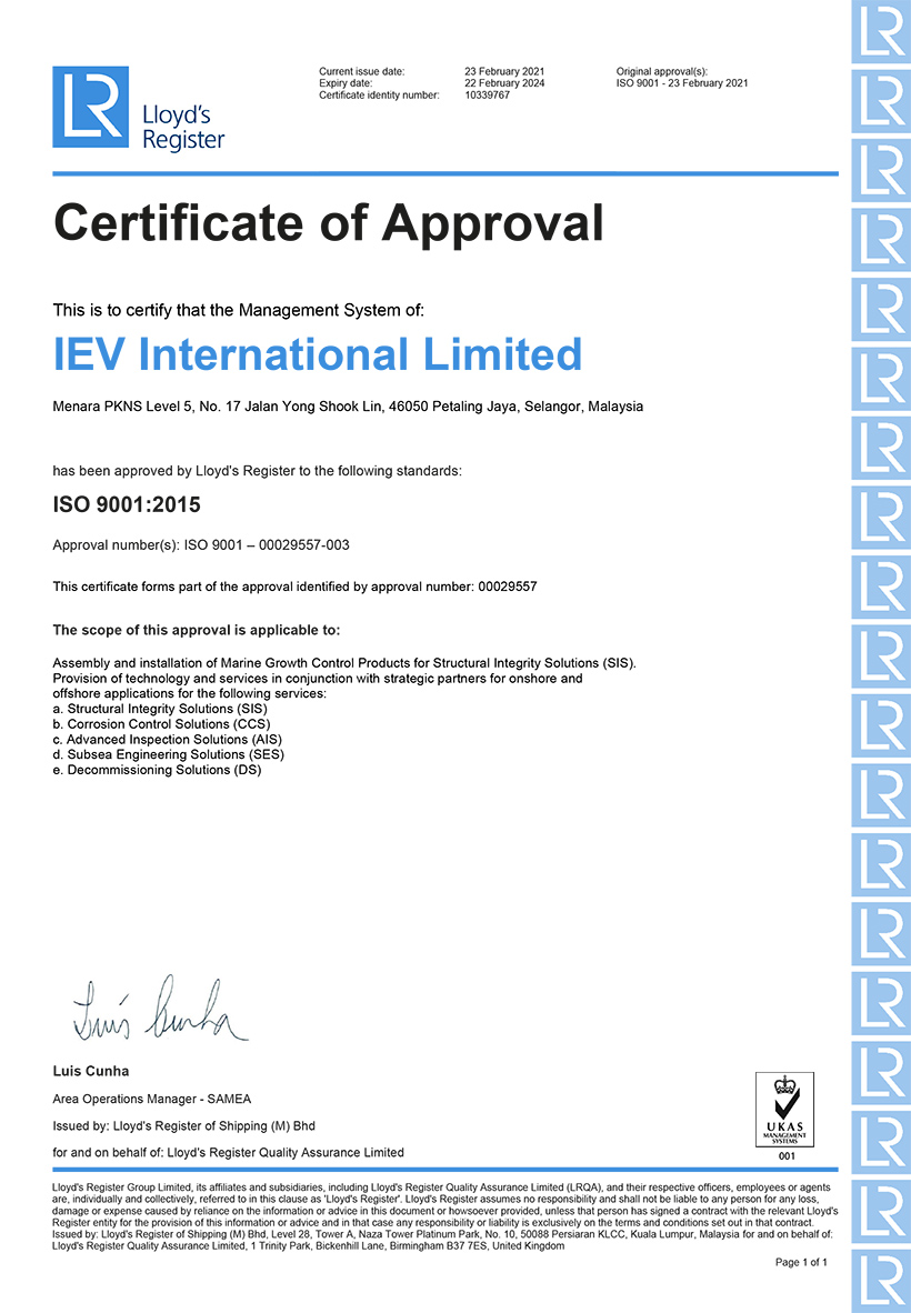 QMS Certificate IEV International Limited