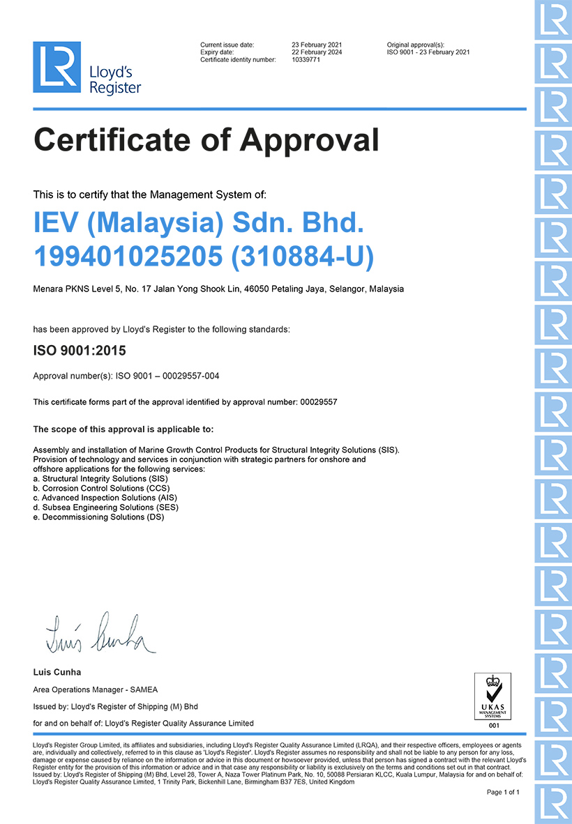QMS Certificate IEV Malaysia Sdn Bhd