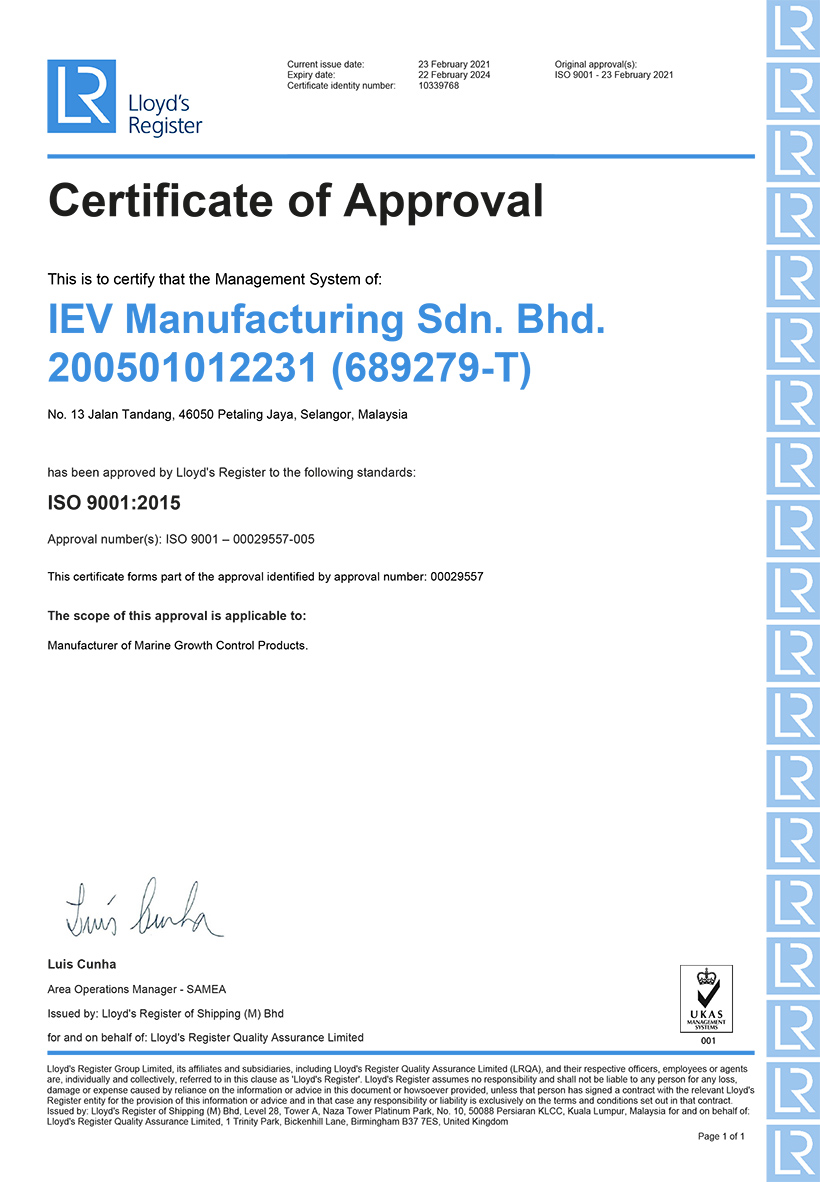 QMS Certificate IEV Manufacturing Sdn Bhd